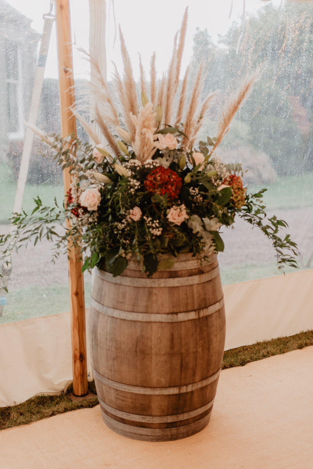 Flower Arrangement Pampas Grass Barrel Family Farm Wedding Janine Kirkwood Photography