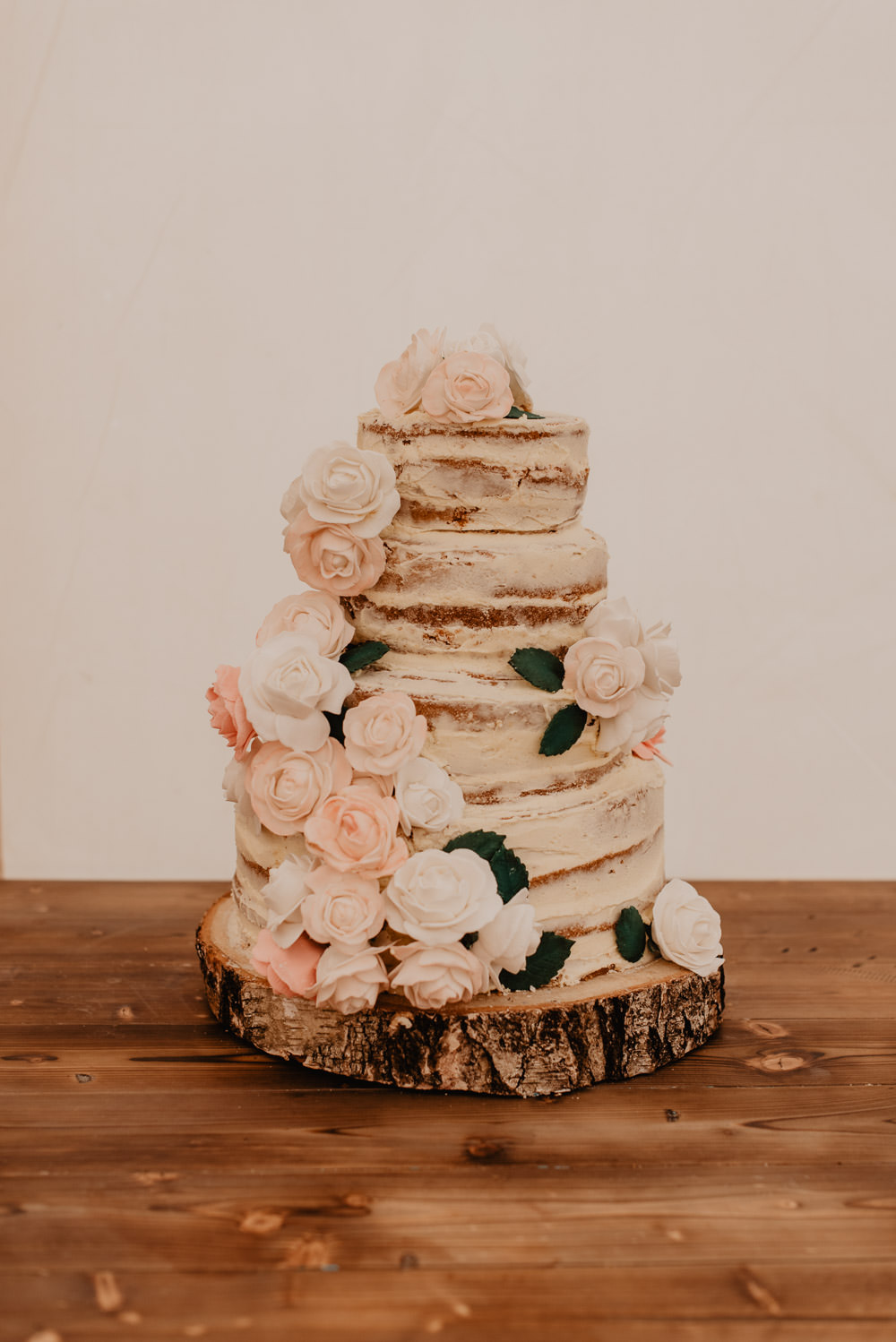 Semi Naked Cake Flowers Log Slice Family Farm Wedding Janine Kirkwood Photography