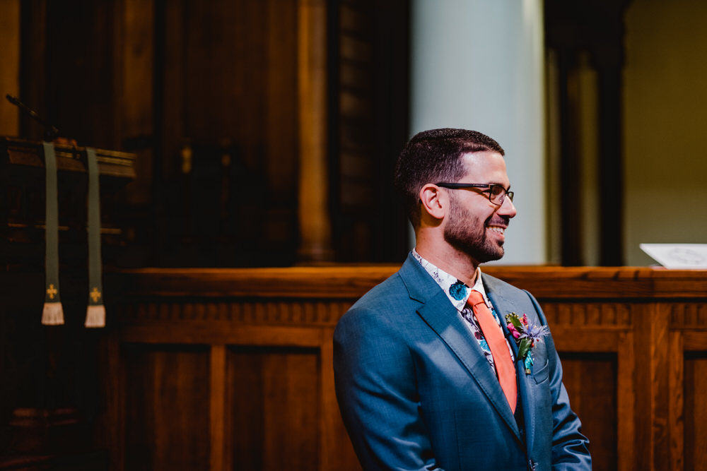 Groom Floral Shirt Orange Tie Blue Suit HOME Manchester Wedding Kate McCarthy Photography