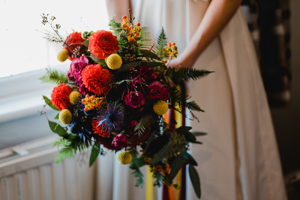 Bouquet Flowers Bride Bridal Colourful Dahlia Rose HOME Manchester Wedding Kate McCarthy Photography