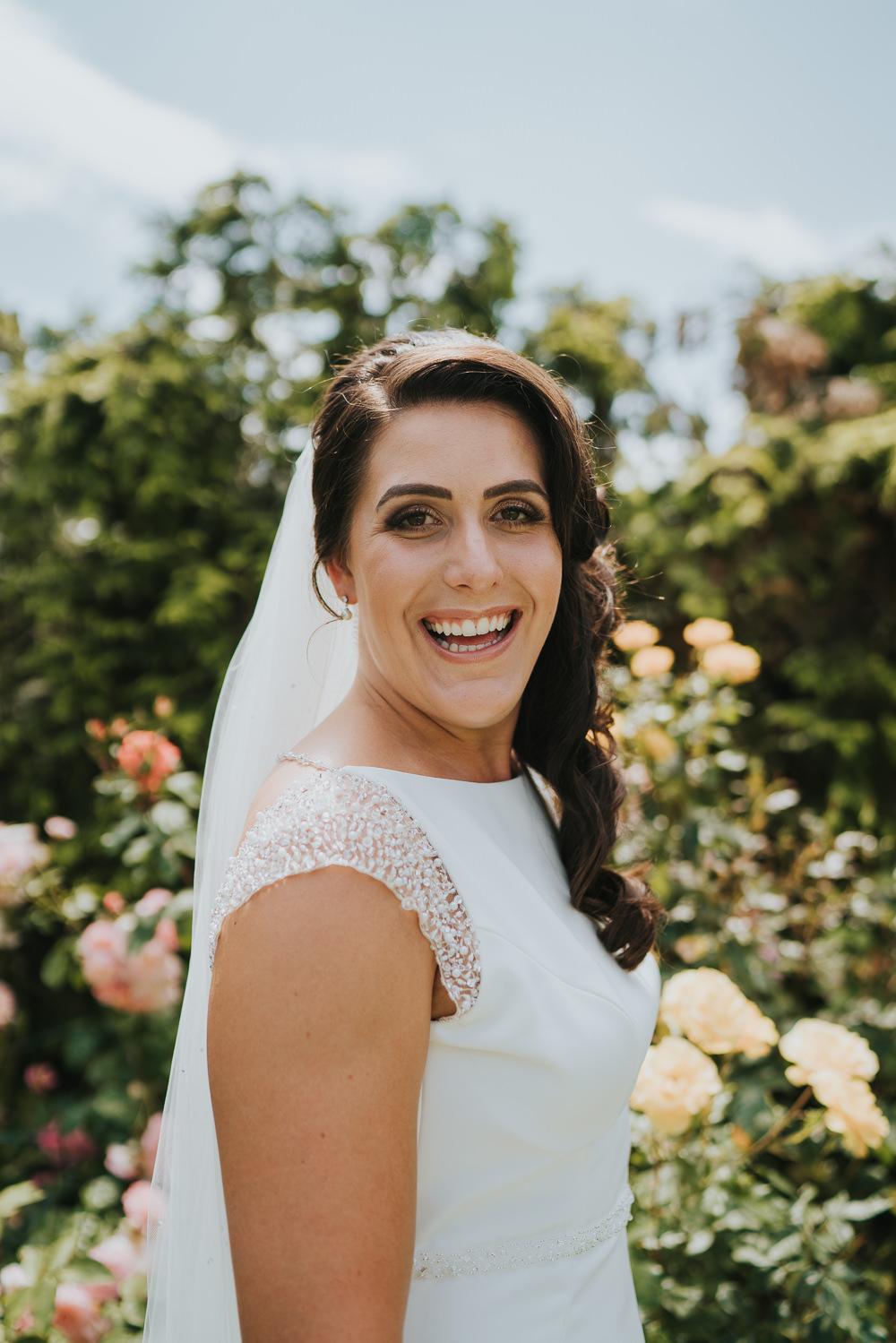 Bride Bridal Hair Style Long Waves Veil High House Weddings Grace Elizabeth Photography