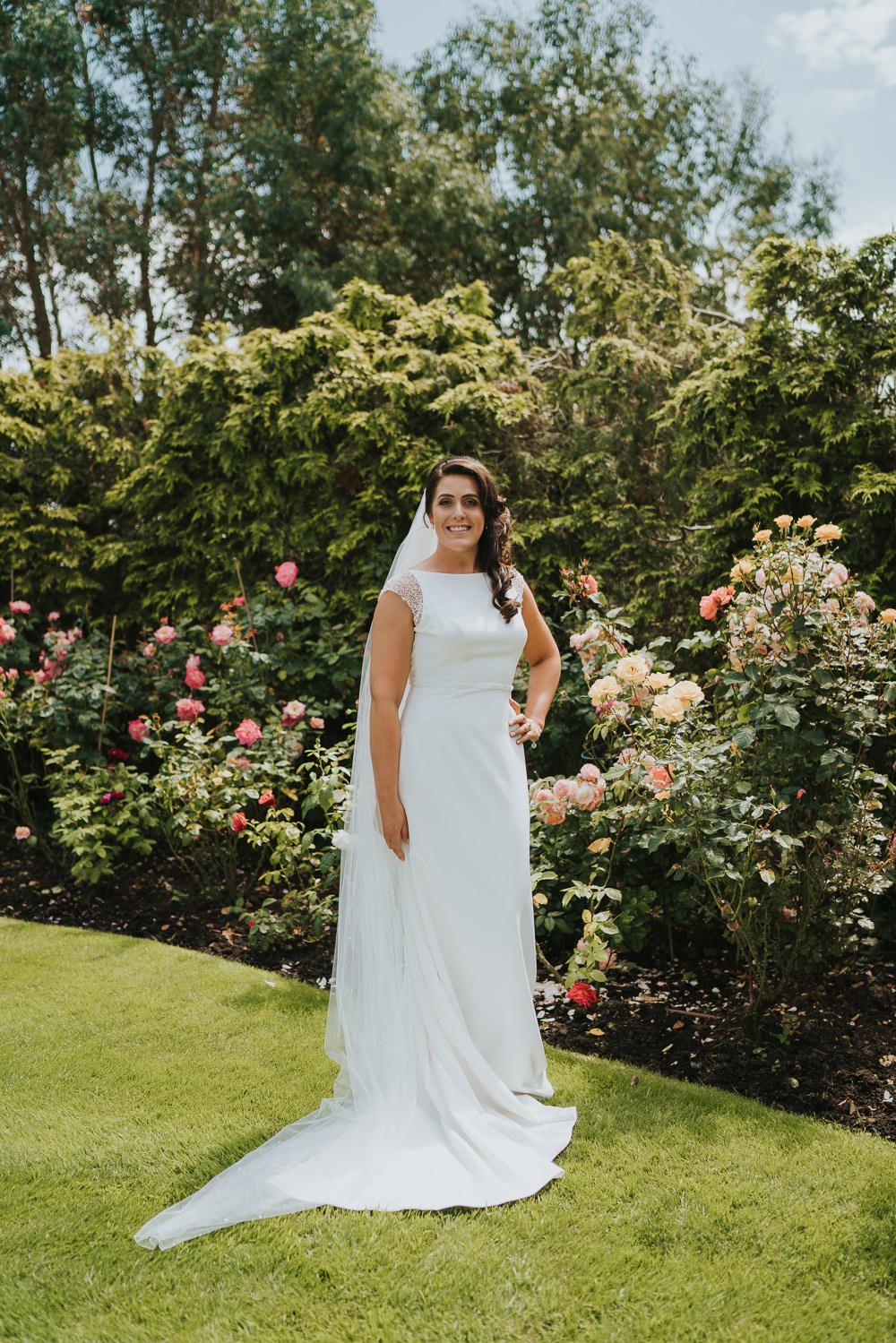 Bride Bridal Dress Gown Maggie Sottero Evangelina Cap Sleeves High House Weddings Grace Elizabeth Photography