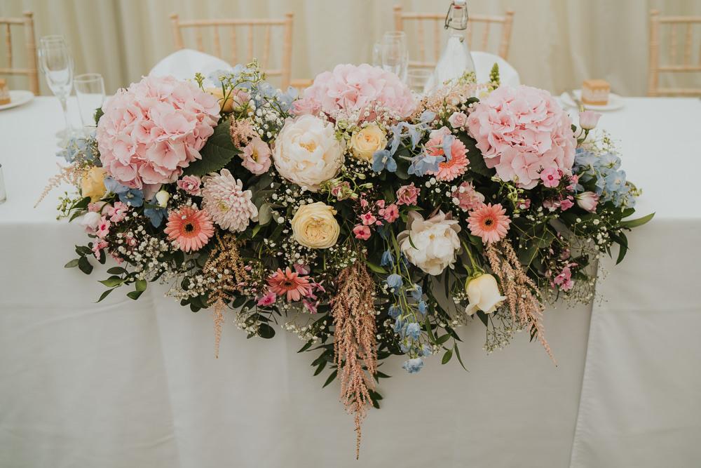 Pink Hydrangeas Top Table Flowers High House Weddings Grace Elizabeth Photography