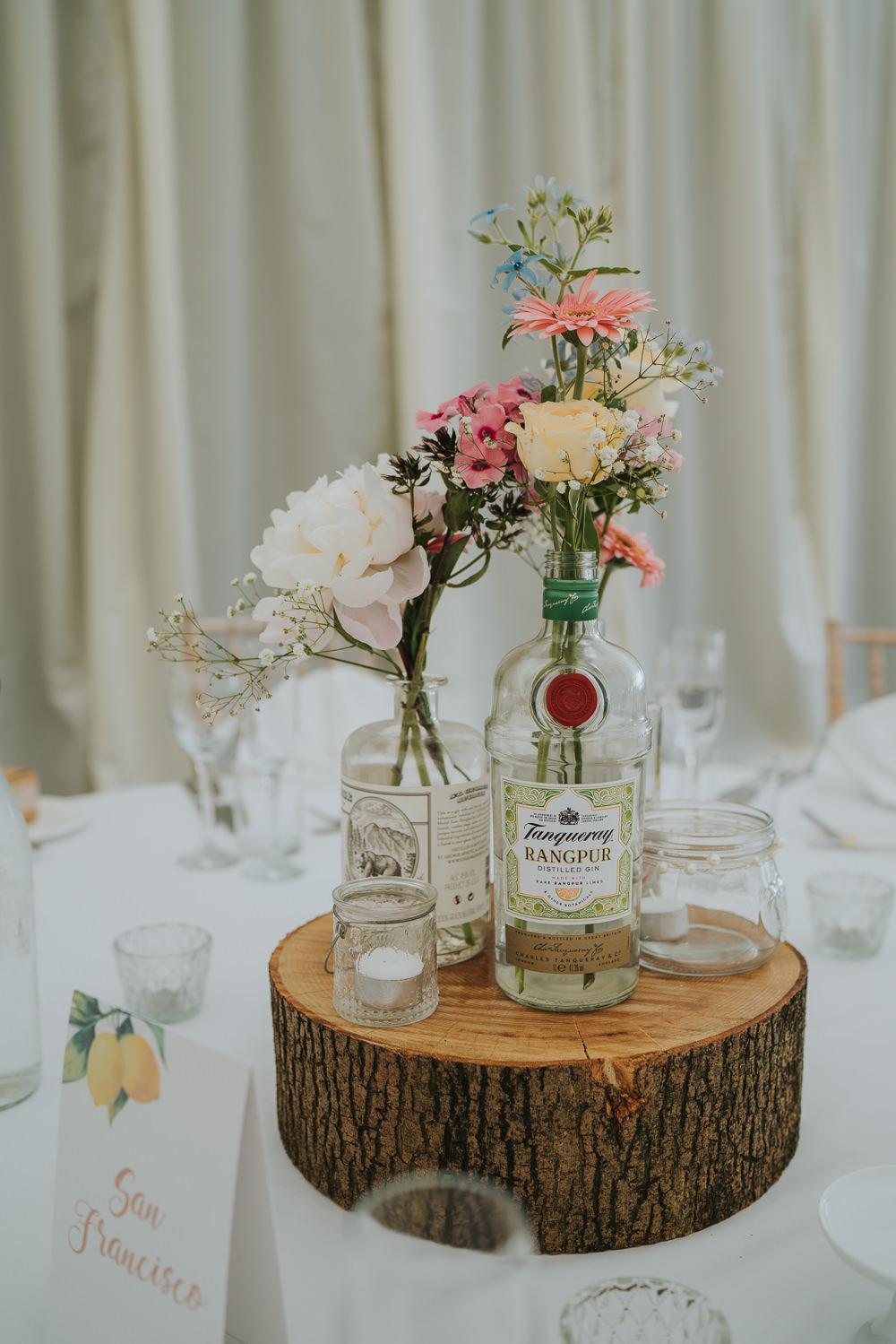 Centrepiece Decor Table Log Slice Bottle Flowers High House Weddings Grace Elizabeth Photography