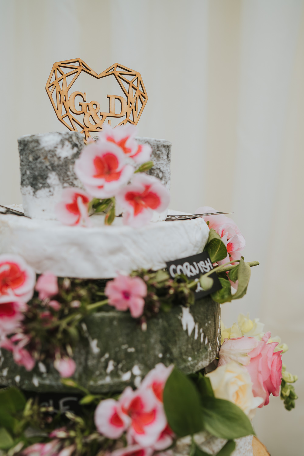 Cheese Stack Tower Cake Flowers Pink Log Stand Wooden High House Weddings Grace Elizabeth Photography