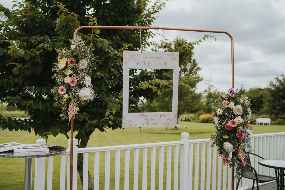 Photo Booth Frame Flowers High House Weddings Grace Elizabeth Photography