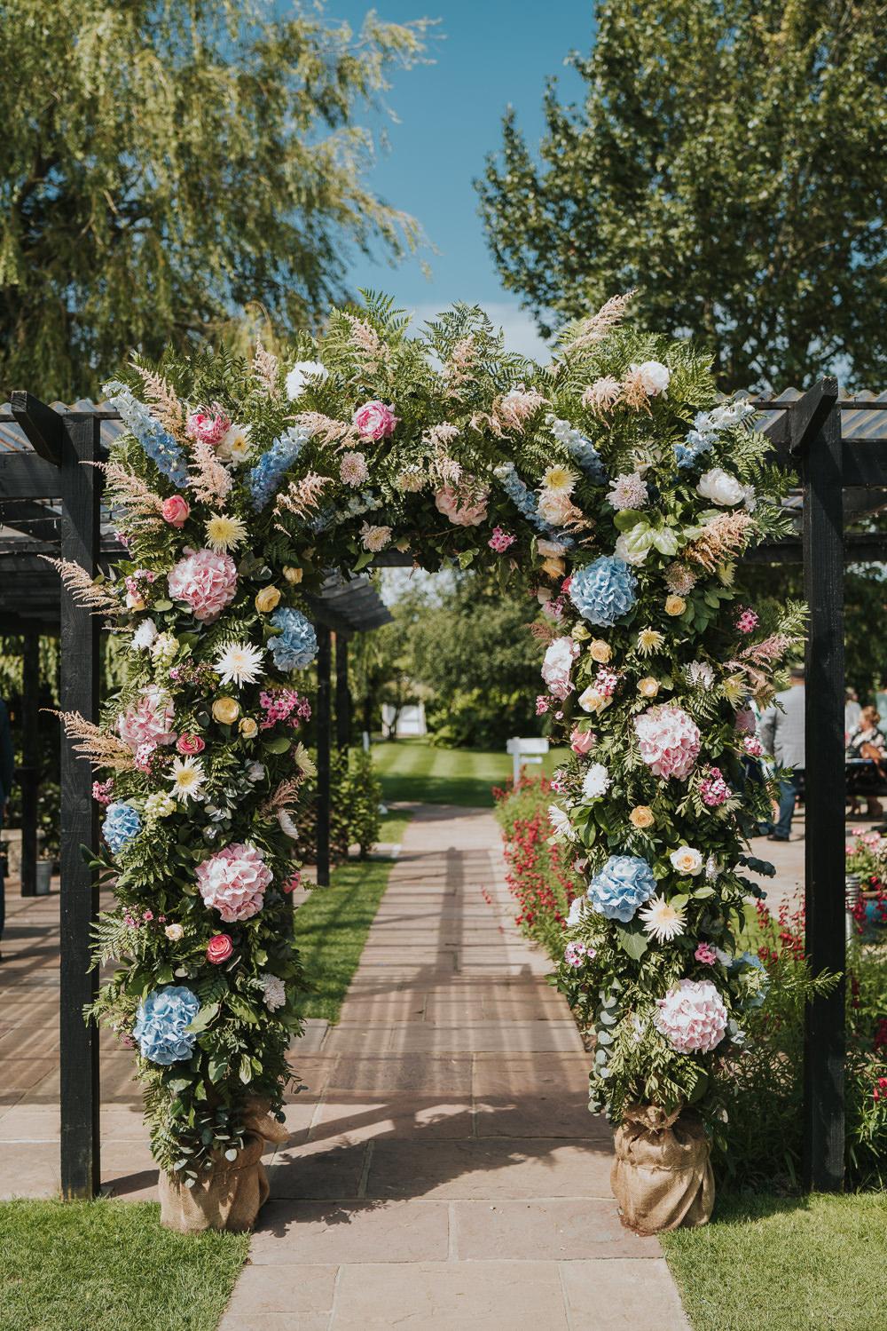 Flower Arch Pink Blue Hydrangea Astilbe High House Weddings Grace Elizabeth Photography