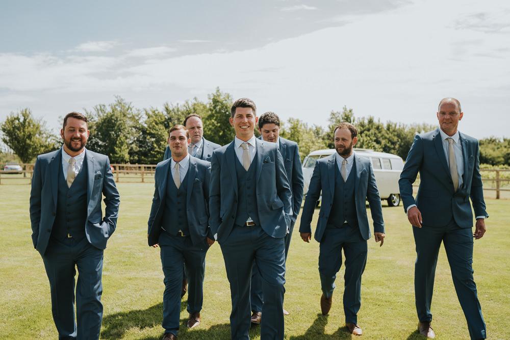 Groom Groomsmen Navy Suits Pink Ties High House Weddings Grace Elizabeth Photography