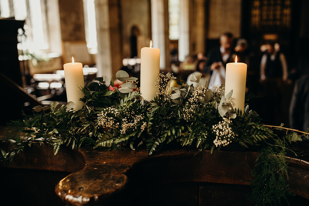 Church Flowers Greenery Candles Hornington Manor Wedding Richard Skins Photography