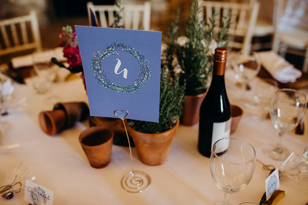 Centrepiece Decor Table Pot Plants Herbs Table Number Hornington Manor Wedding Richard Skins Photography