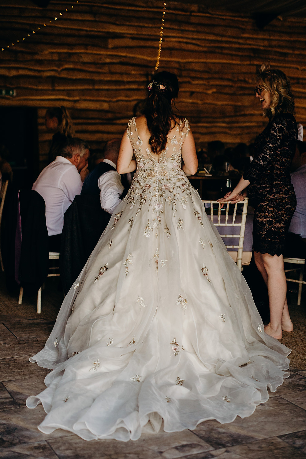 Bride Bridal Dress Gown Ian Stuart Summertime Embroidery Train Hornington Manor Wedding Richard Skins Photography