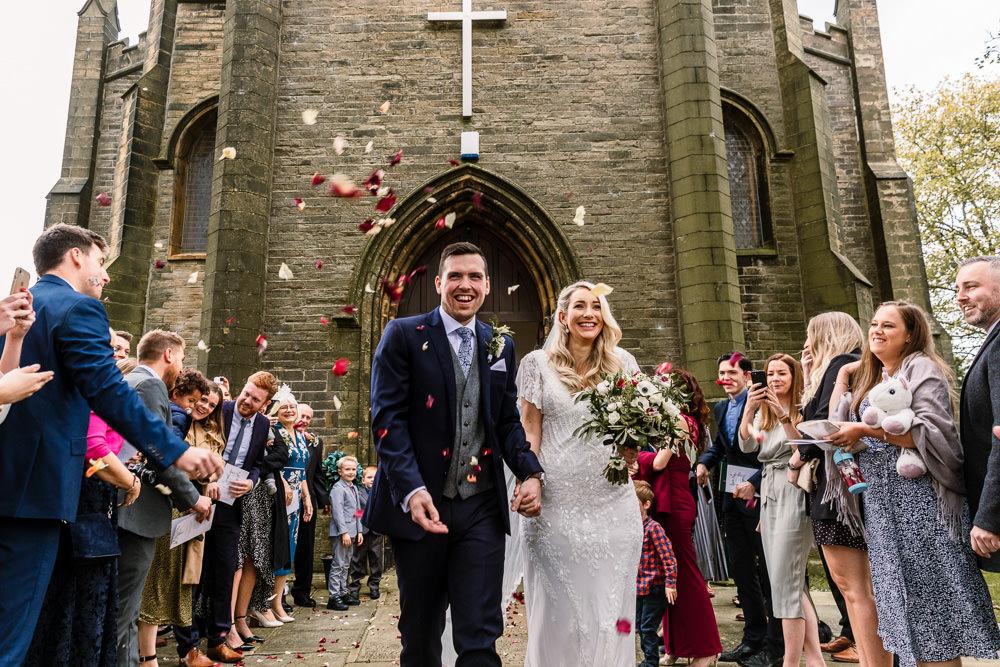 Confetti Throw Industrial Mill Wedding Hayley Baxter Photography