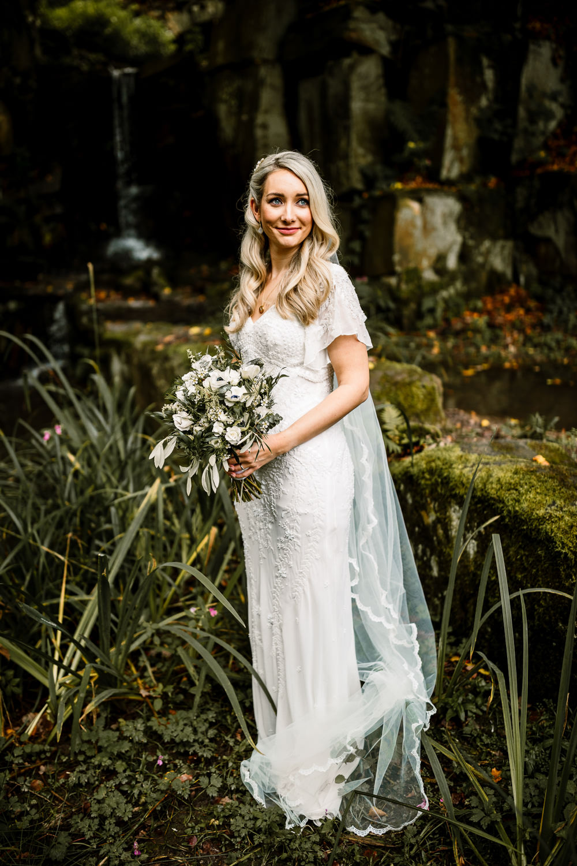 Dress Gown Bride Bridal Veil Eliza Jane Howell Beaded Sleeves Industrial Mill Wedding Hayley Baxter Photography