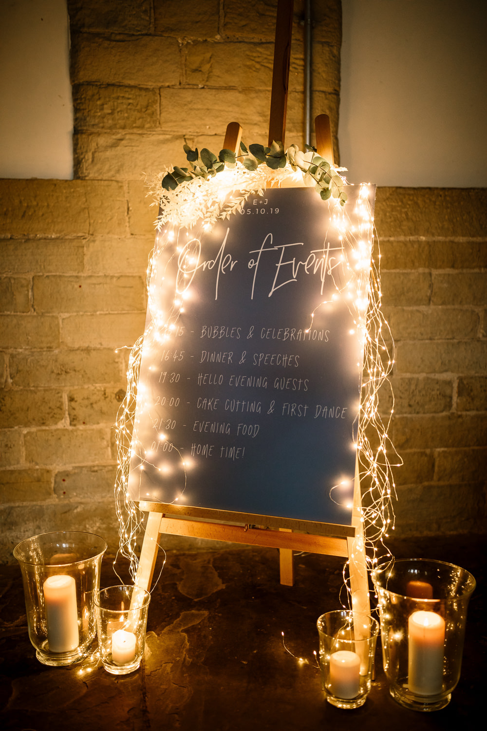 Sign Signs Signage Fairy Lights Industrial Mill Wedding Hayley Baxter Photography
