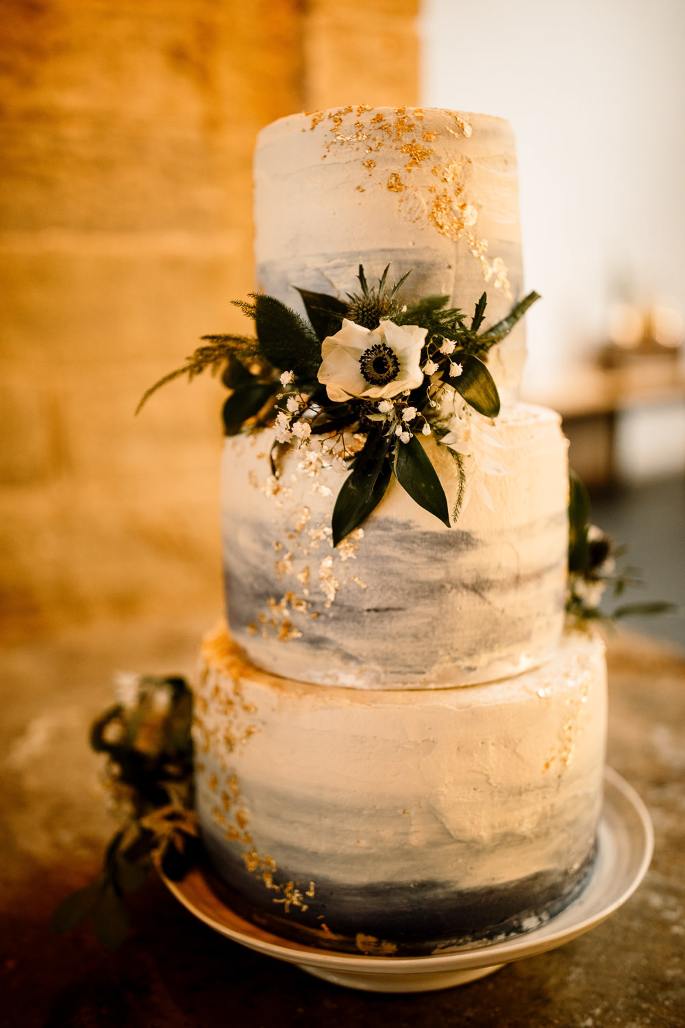 Watercolour Cake Gold Leaf Flowers Industrial Mill Wedding Hayley Baxter Photography