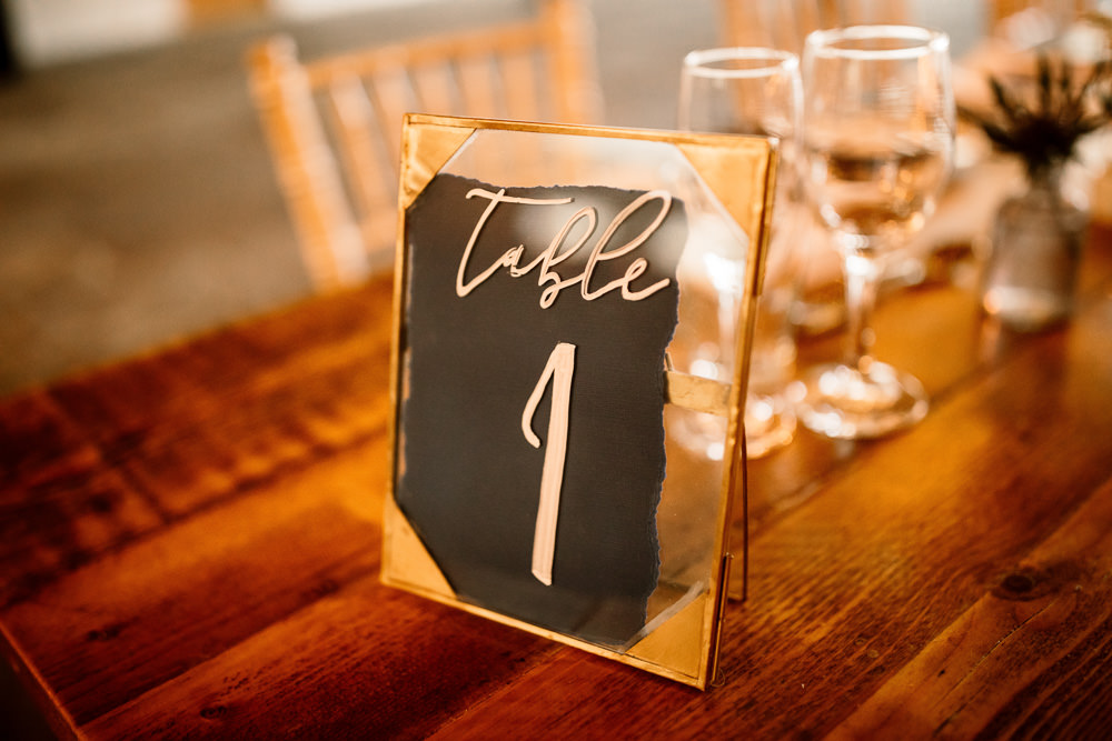 Calligraphy Table Numbers Glass Clear Frames Industrial Mill Wedding Hayley Baxter Photography