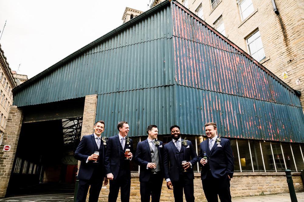 Groom Suit Navy Grey Waistcoat Tie Groomsmen Industrial Mill Wedding Hayley Baxter Photography
