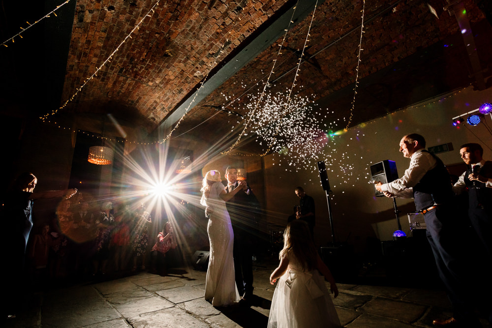 Confetti Cannon First Dance Industrial Mill Wedding Hayley Baxter Photography