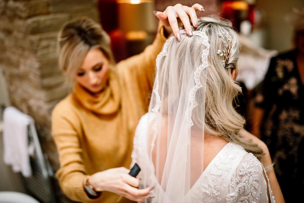 Bride Bridal Veil Lace Industrial Mill Wedding Hayley Baxter Photography