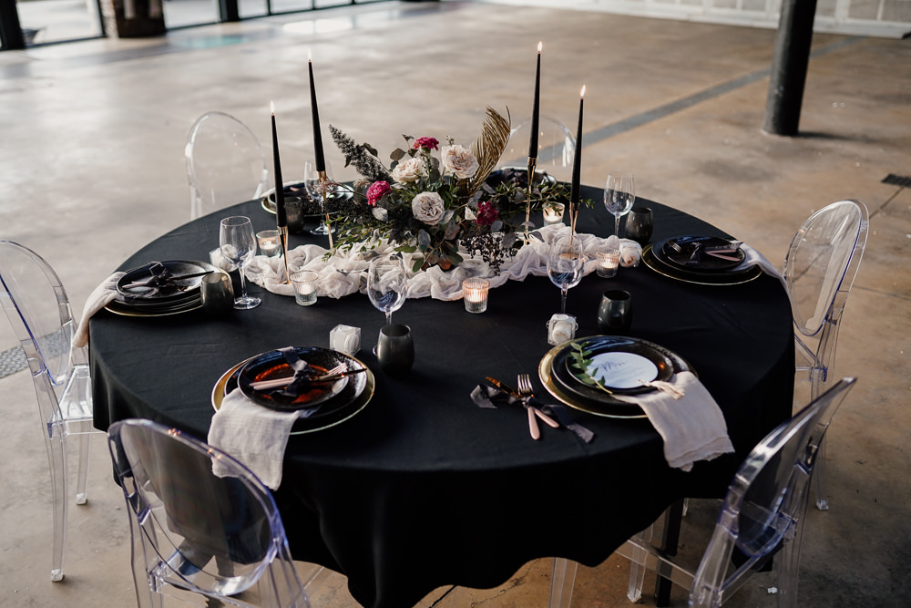 Table Tablescape Decor Black Table Cloth Candles Flowers Industrial Wedding Ideas Sam Sparks Photography