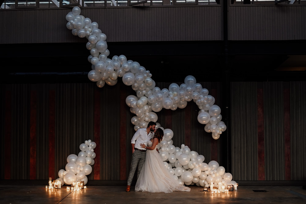 Balloon Installation Backdrop Industrial Wedding Ideas Sam Sparks Photography