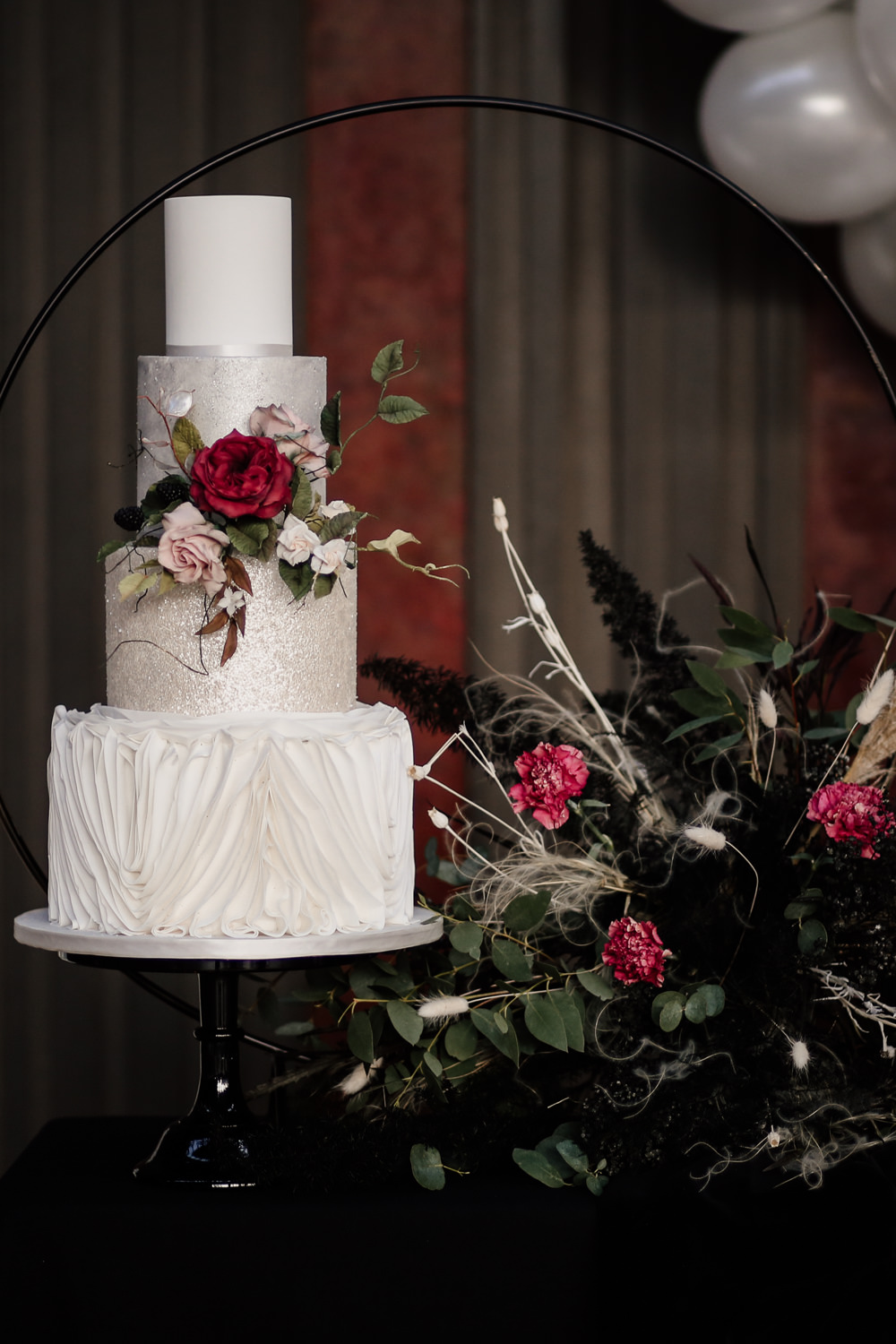 Marble White Cake Flowers Industrial Wedding Ideas Sam Sparks Photography