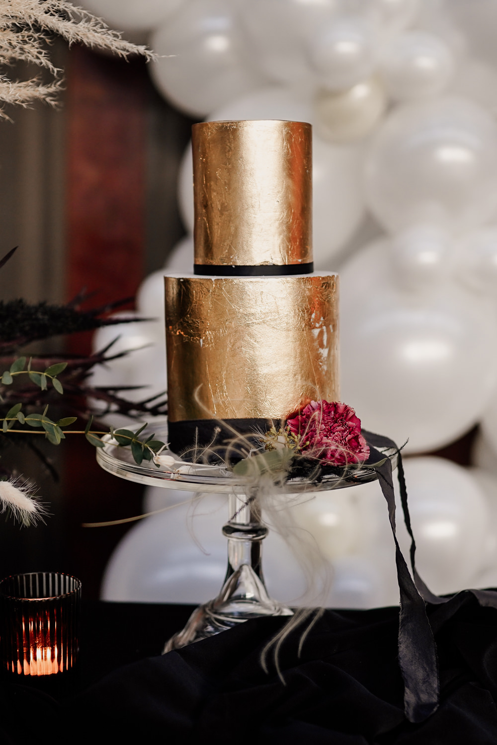 Gold Cake Industrial Wedding Ideas Sam Sparks Photography