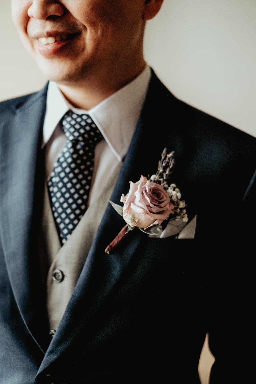 Groom Suit Blue Grey Waistcoat Polka Dot Tie Rose Buttonhole Philippines Wedding The Backyard Studios