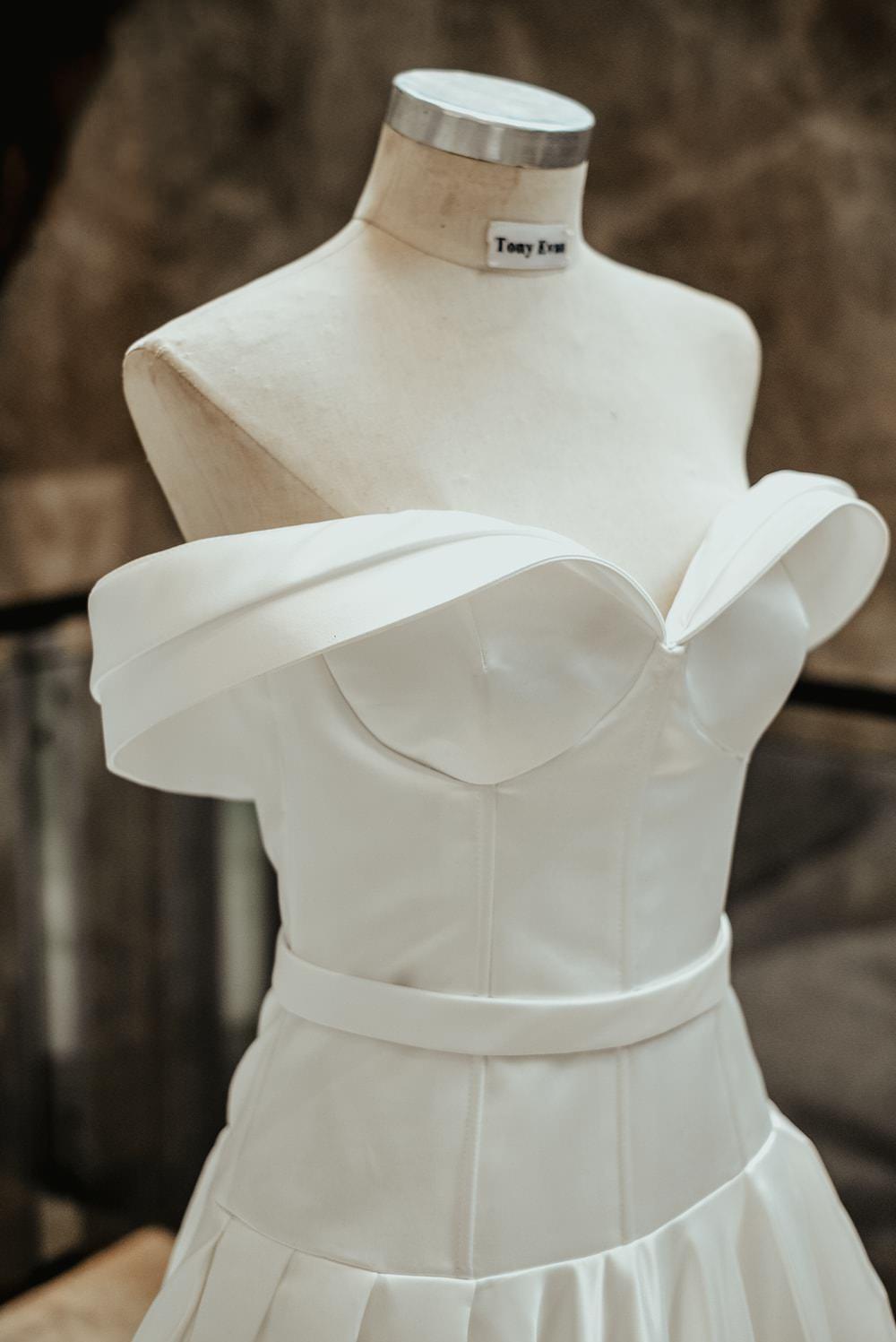 Dress Gown Bride Bridal Strapless Off Shoulder Bardot Philippines Wedding The Backyard Studios