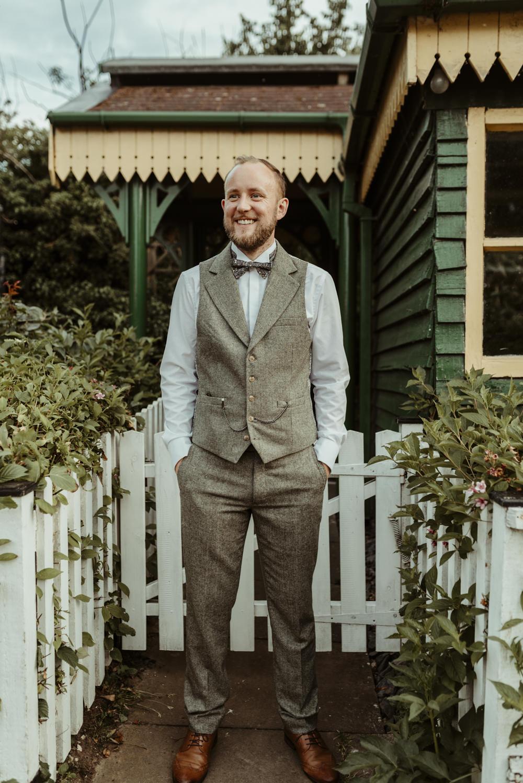 Groom Groomsmen Suits Grey Bow Tie Waistcoat Red Brick Barn Wedding Jess Soper Photography