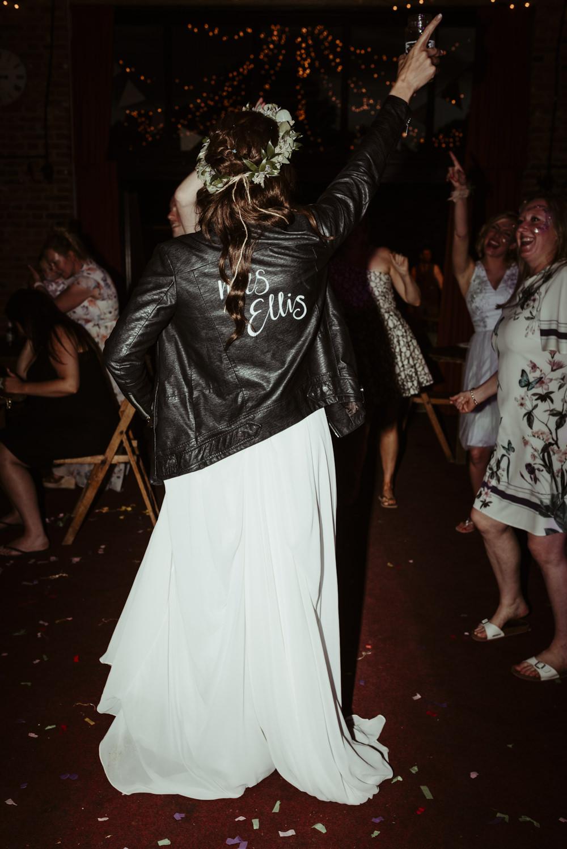 Bride Bridal Leather Jacket Painted Personalised Red Brick Barn Wedding Jess Soper Photography