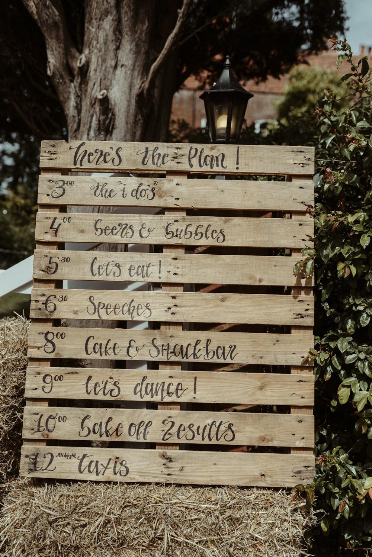Wooden Pallet Sign Signs Signage Red Brick Barn Wedding Jess Soper Photography