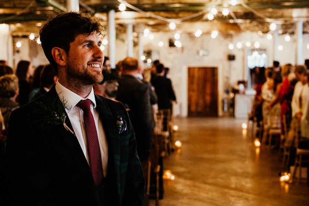 Groom Suit Red Tie Brewery Wedding Ginger Beard Weddings