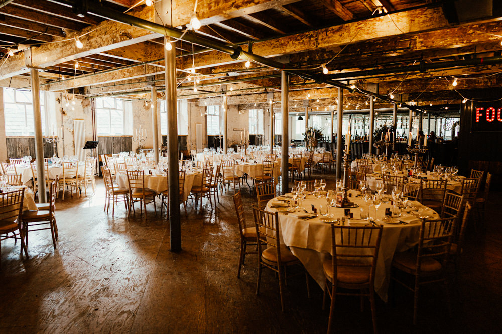 Holmes Mill Industrial Reception Festoon Lights Brewery Wedding Ginger Beard Weddings