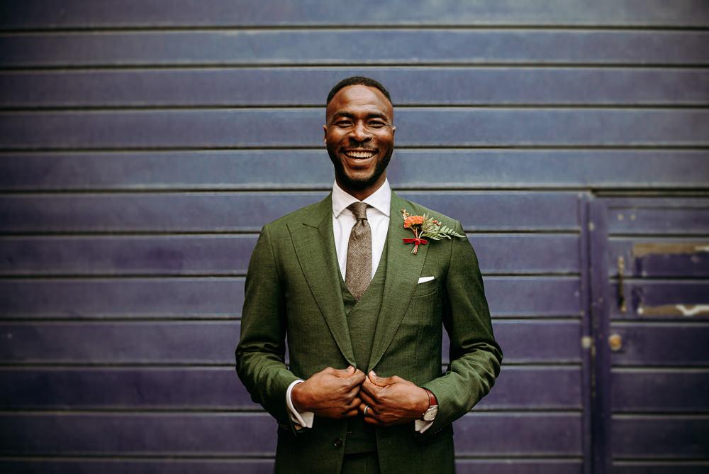 Groom Suit Green Waistcoat Tie British Nigerian Wedding Andrew Brannan Photography