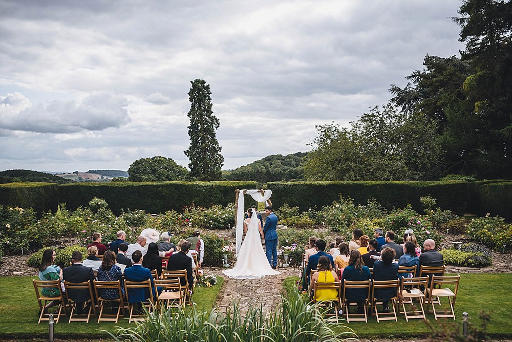 Outdoor Garden Ceremony Flower Arch Fabric Broadfield Court Wedding Marta May Photography