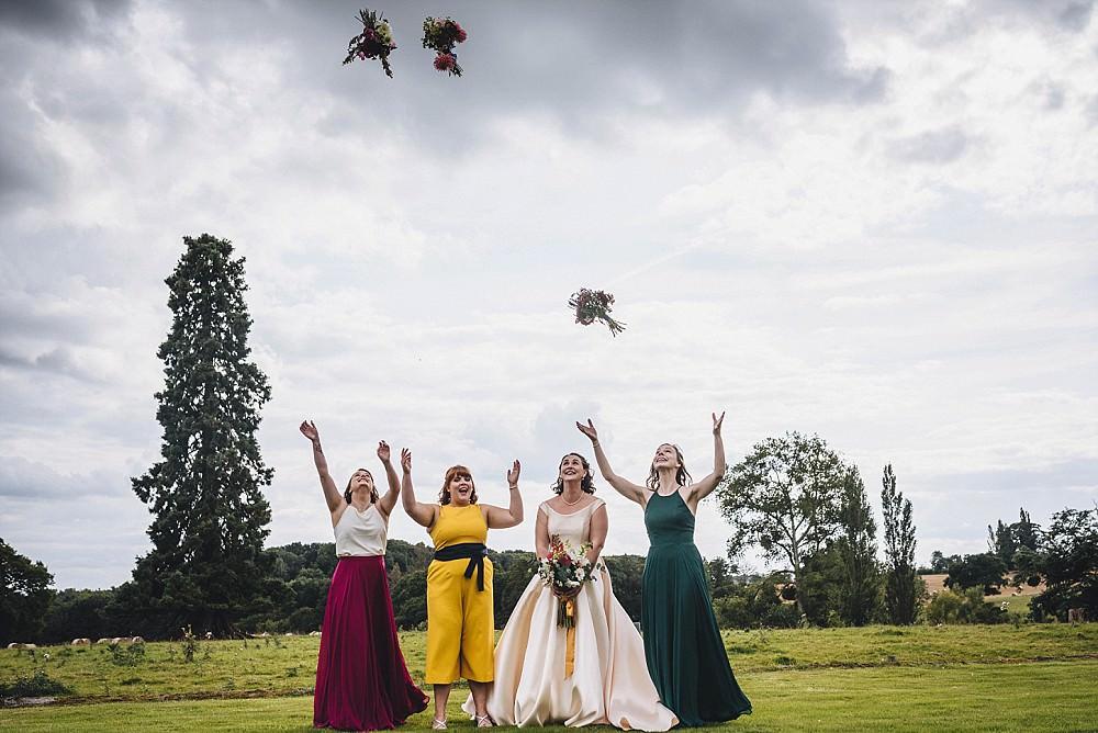 Bridesmaids Bridesmaid Dress Dresses Autumn Jewel Tone Broadfield Court Wedding Marta May Photography