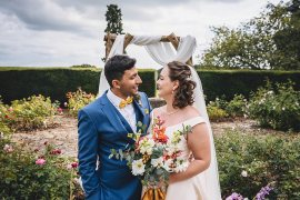 Groom Suit Blue Yellow Bow Tie Broadfield Court Wedding Marta May Photography