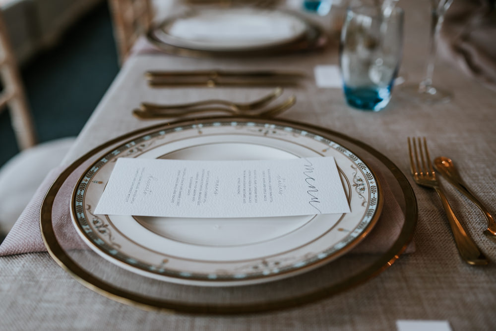 Place Setting Decor Menu Chippenham Park Wedding Daniel Ackerley Photography