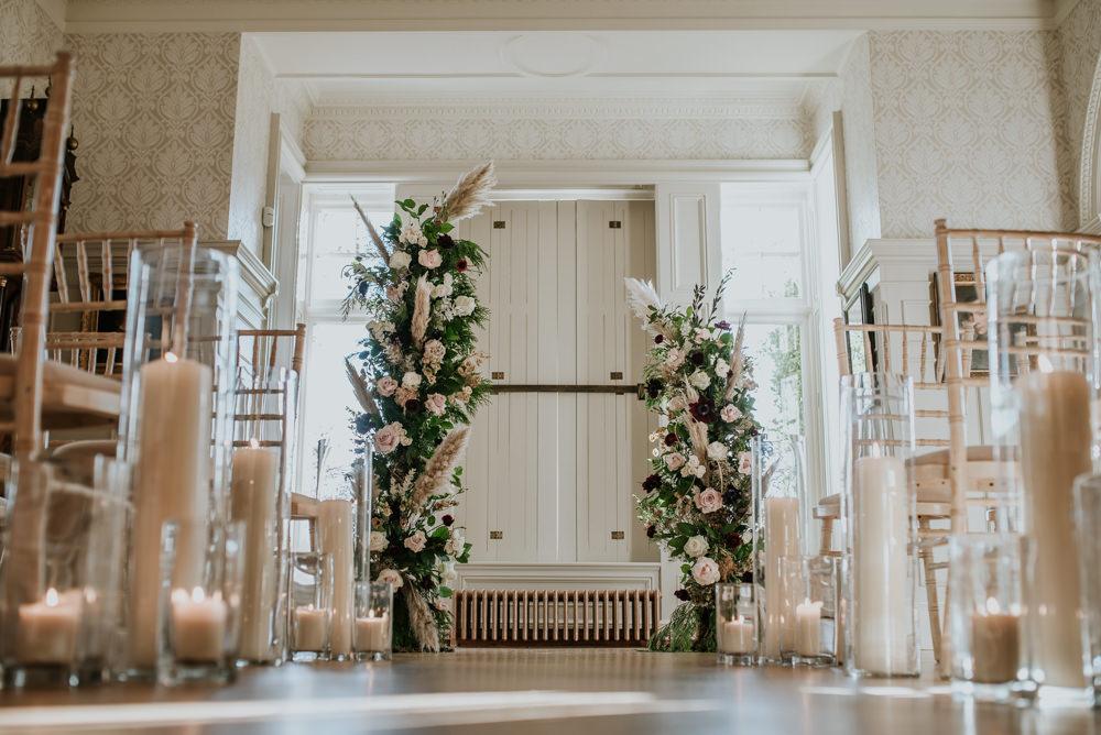 Pillar Candles Aisle Decor Ceremony Flower Arch Instalation Backdrop Chippenham Park Wedding Daniel Ackerley Photography
