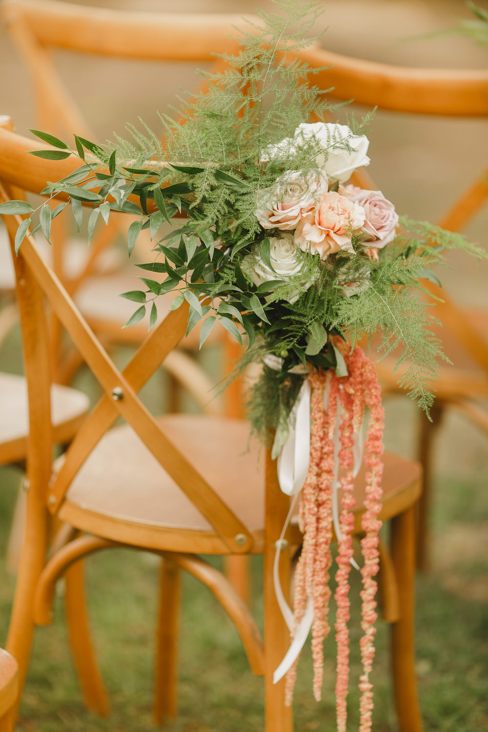 Chair Flowers Aisle Ceremony Pew End Enchanted Forest Wedding Kristen Booth Photography