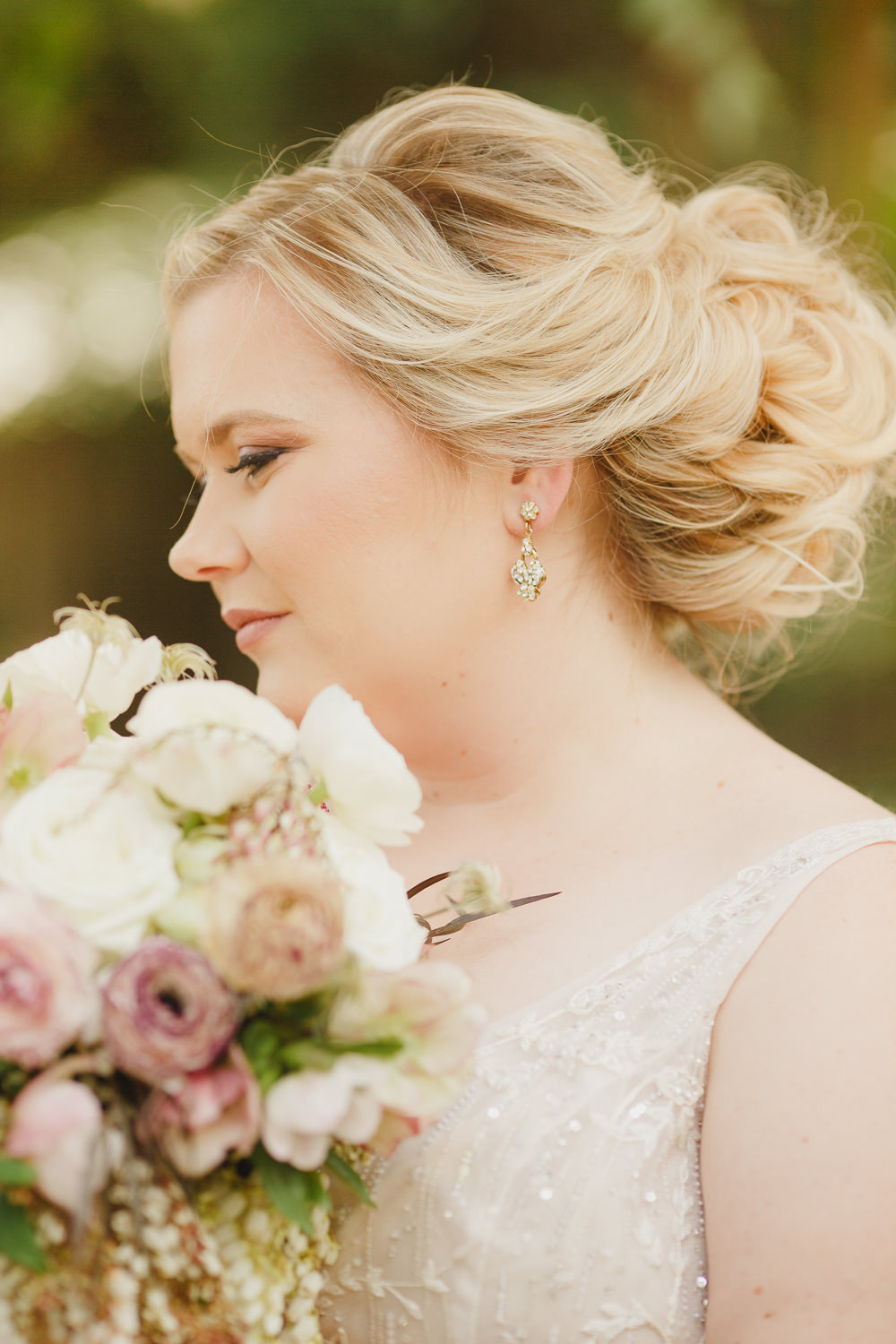 Bride Bridal Make Up Earrings Enchanted Forest Wedding Kristen Booth Photography