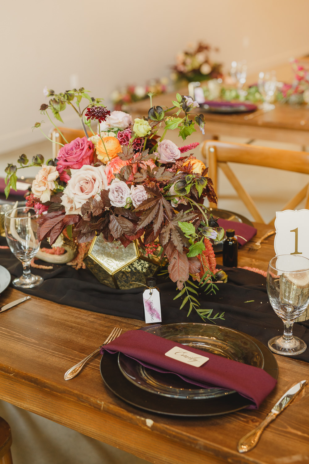 Table Decor Tablescape Flowers Black Plates Red Napkins Candles Enchanted Forest Wedding Kristen Booth Photography