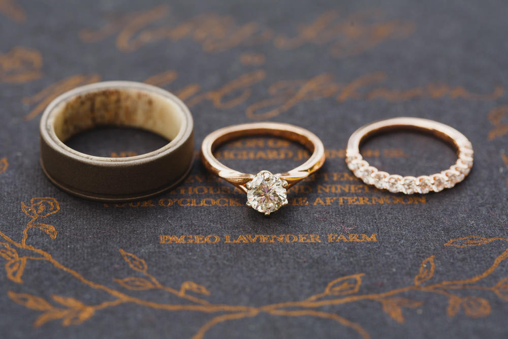Yellow Gold Rings Bands Diamond Enchanted Forest Wedding Kristen Booth Photography