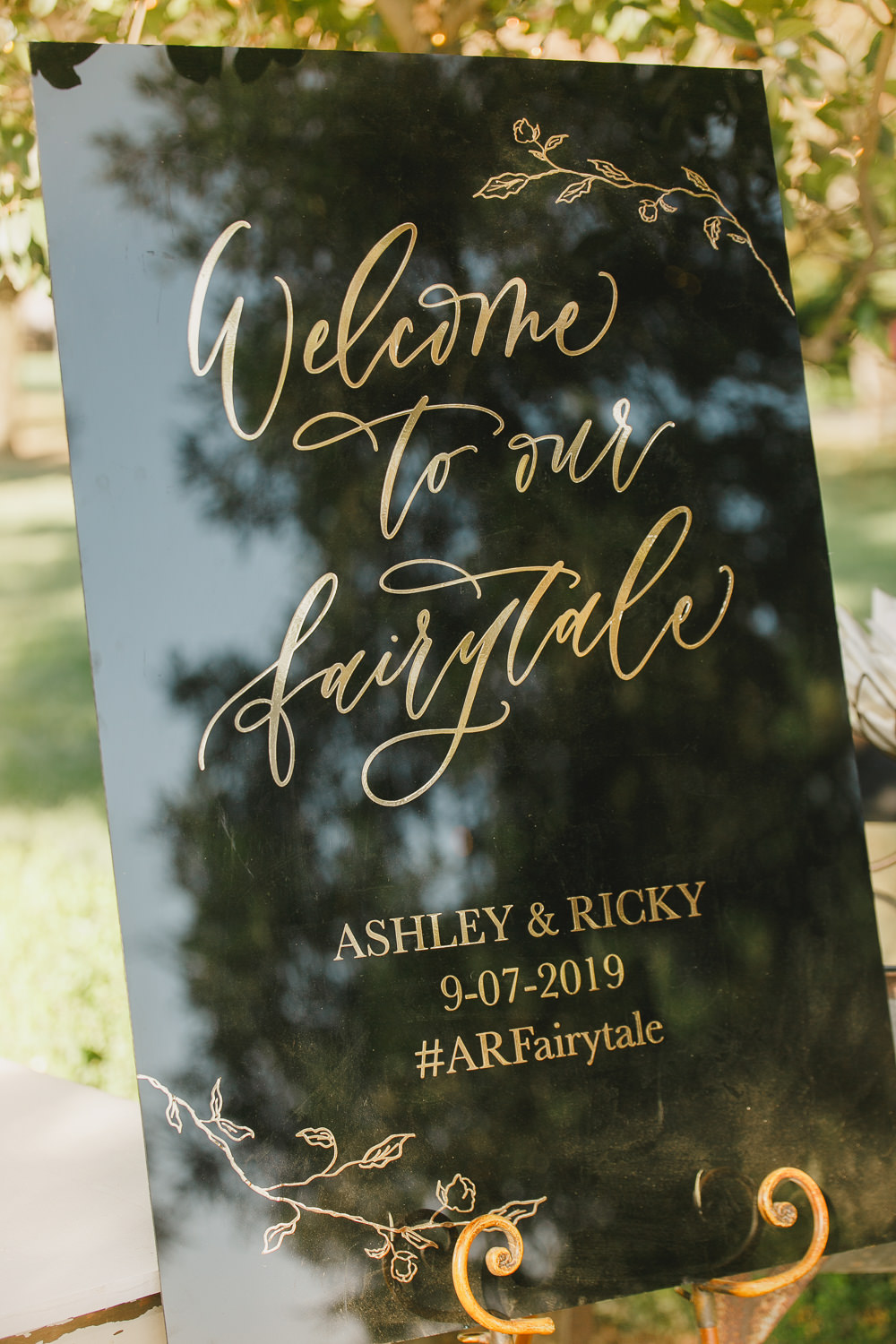 Welcome Sign Signs Signage Black Gold Calligraphy Enchanted Forest Wedding Kristen Booth Photography
