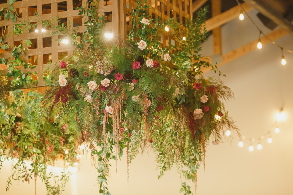 Flowers Hanging Suspended Lighting Enchanted Forest Wedding Kristen Booth Photography
