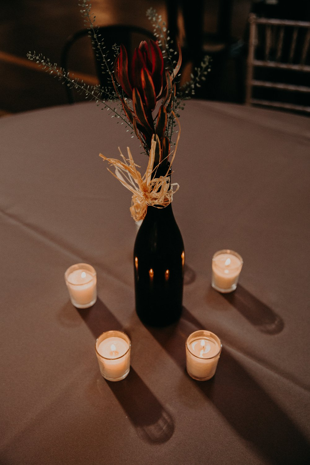 Table Flowers Bottle Centrepiece Candles Georgia Wedding Aline Marin Photography