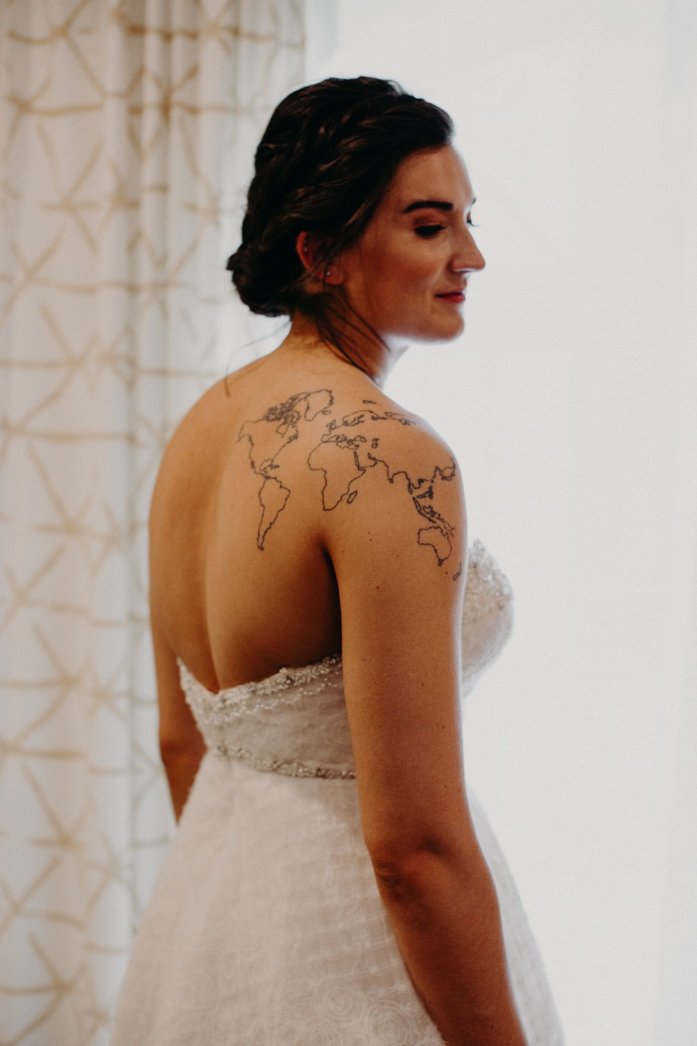 Dress Gown Bride Bridal Strapless Tattoo Georgia Wedding Aline Marin Photography