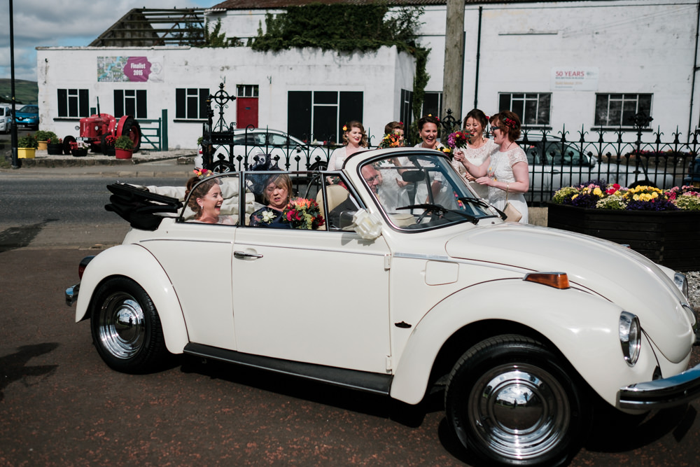 VW Beetle Car Transport Glenarm Castle Wedding Jonathan Ryder Photography