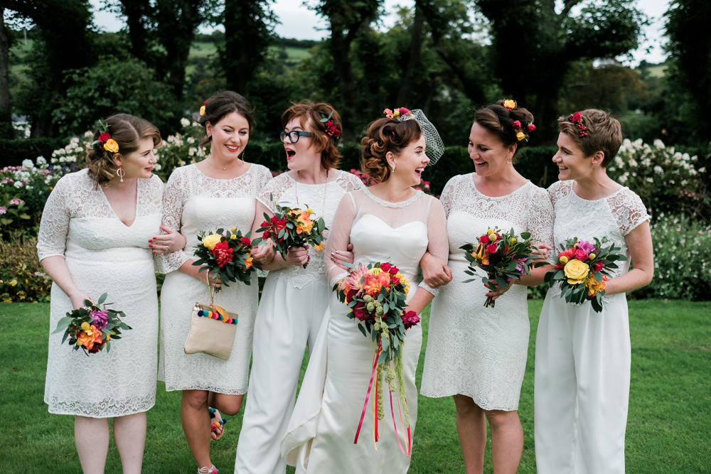 Bridesmaids Bridesmaid Dress Dresses White Mismatched Colourful Bouquets Glenarm Castle Wedding Jonathan Ryder Photography